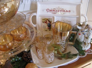 Antique amber glass jug and glasses